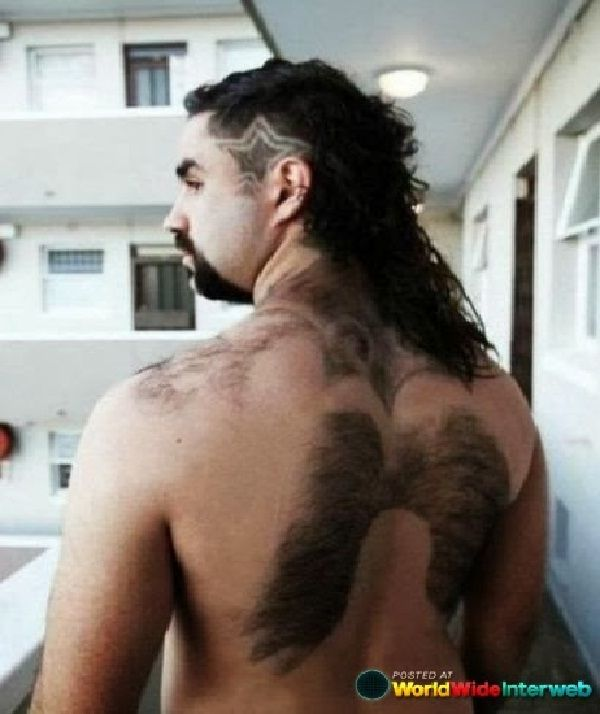 We have wings attached-Amazing body hair art