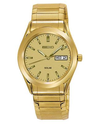 Seiko Solar Mens Watch - Gold-Tone Dial -Expansion Band - Day-Date