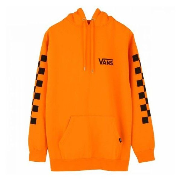 VANS CHECKER OVER SIZE PULL OVER HOODIE ORANGE ($78) ❤ liked on Polyvore featuring tops, hoodies, vans hoodies, hooded sweatshirt, checkered top, oversized tops and checkered hoodie