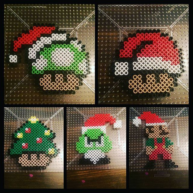 Super Mario Christmas ornaments perler beads by tiffyiffffy