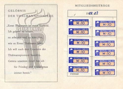 Pionier-Mitgliedsbuch