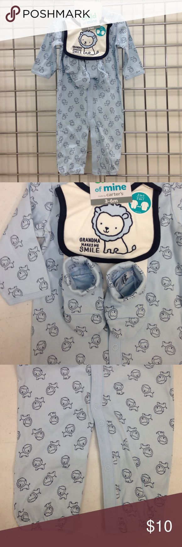 Child of Mine Carters 3-6 month 3 piece set Child of Mine Carters 3-6 month 3 piece set.  Booties, bib and 1 piece snap front , long sleeve romper.  12.5-16.5 lbs. 24-26.5 in. Carters Matching Sets
