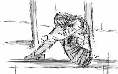 esquisse fille triste