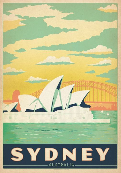 Vintage Poster - Sydney Australia - Travel - Opera House - Harbor Bridge