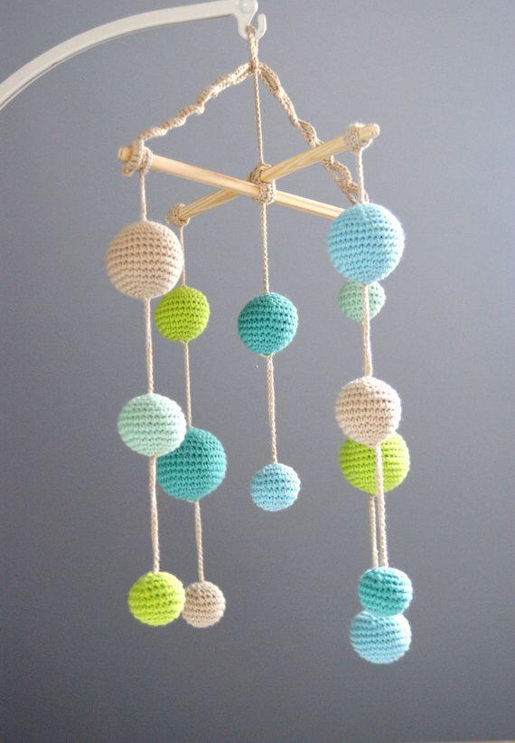 Baby Crib Mobile - Crochet Pastel Baby Boy Beige/Mint green/Aqua/Salad green Balls Mobile(5-color mobile) -Baby boy nursery Made to order