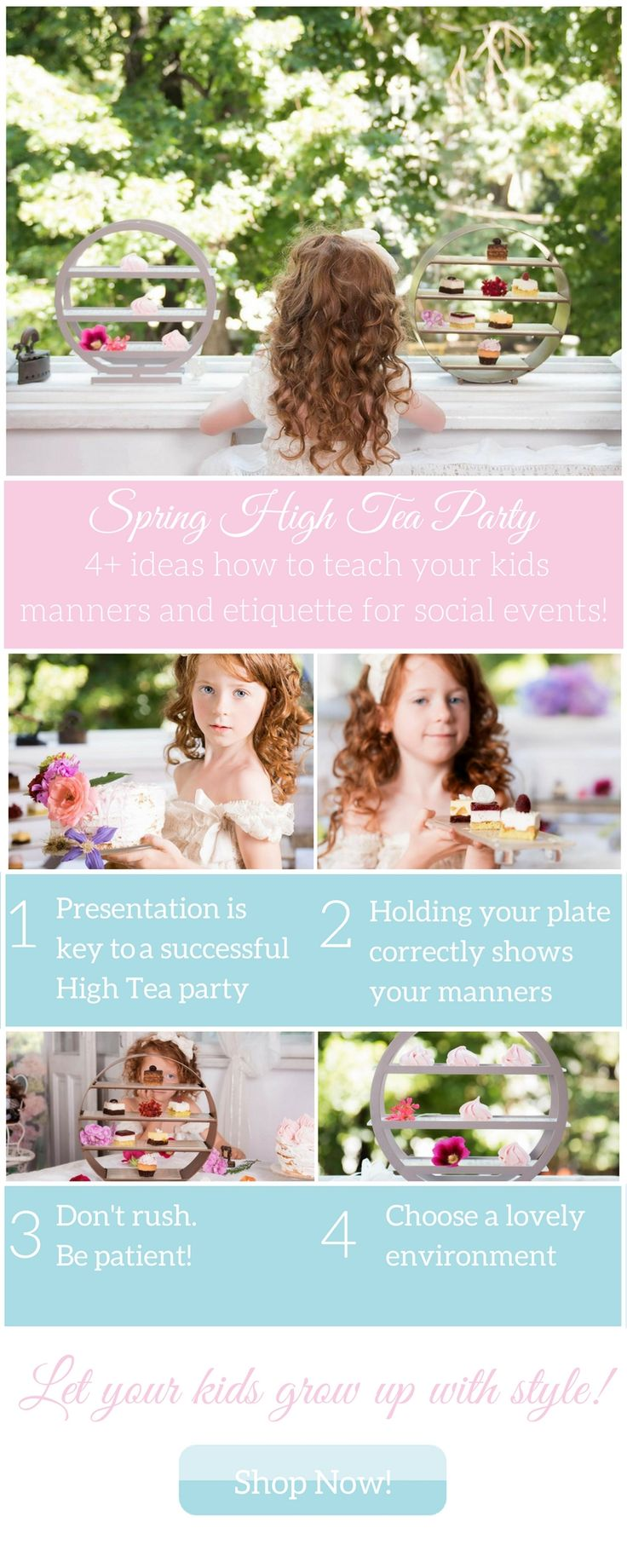 Spring High Tea Party 4+ ideas how to teach your kids manners and etiquette for social events! 1. Presentation is key to a successful High Tea party 2. Holding your plate correctly shows your manners 3. Don't rush. Be patient! 4. Choose a lovely environment Let your kids grow up with style! Chose from a wide collection of luxury high tea stands made from glass in combination with different high quality materials. For a mesmerizing presentation of desserts!