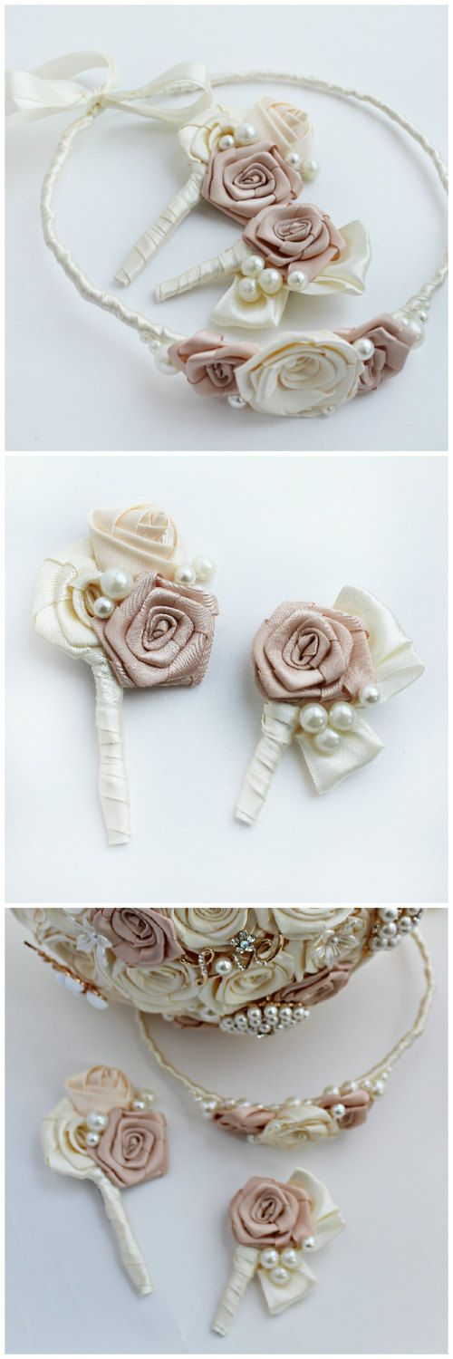 Ivory wedding boutonniere for brooch bouquet by JewelryBouquet