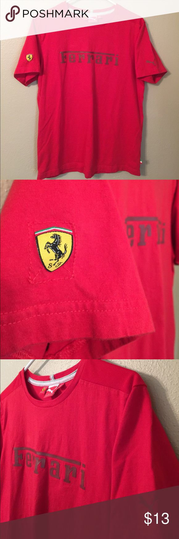 Puma Ferrari T Shirt Red puma logo size medium Gently used. Some wrinkles which can be removed. Official Puma by Ferrari logo tshirt. Stylish designer tee. Size is a men's size medium, could fit women's L/XL.  cPlease see measurements if unsure of size. Mesh type material (not see through) at shoulders, otherwise cotton. Puma and Ferrari logo on sleeves. Price firm ships next day 🔥🔥tags: puma fenty Puma Shirts Tees - Short Sleeve