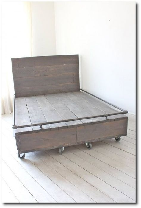 Reclaimed Scaffolding Board Grey Painted Kingsize Bed on Castors with Storage Drawers - Bespoke Urban Furniture