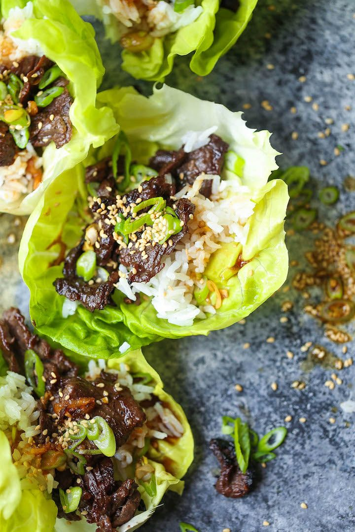 Korean Beef Lettuce Wraps - Everyone's favorite Korean BBQ made at home with these light/refreshing lettuce wraps! Can also be made/prepped ahead of time!