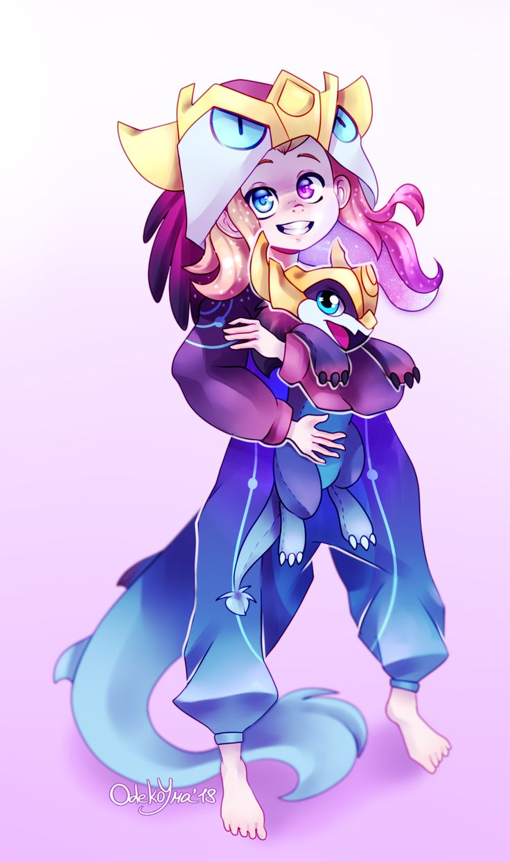 Zoe and her dog plushie by TheOdekoYma