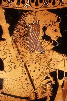 The first labour of Herucles was to kill the invulnerable lion, which he did my strangling it. He then wore the skin before eventually presenting it to the King. (For the full story follow the link.)