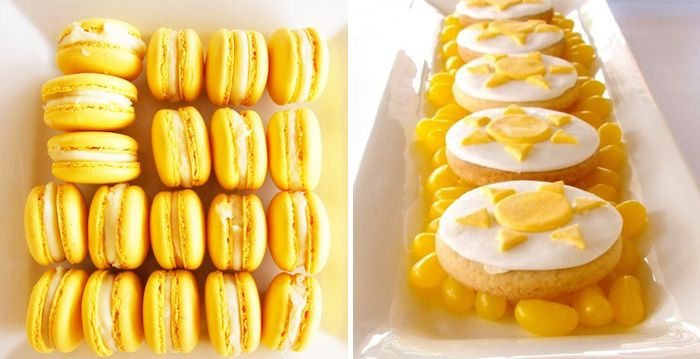 Yellow macarons and sunshine cookiesSugar Cookies, Amy Atlas, Bridal Shower Ideas, Sunshine Parties, 1St Birthday, Jelly Beans, Desserts Tables, Sunshine Cookies, Baby Shower