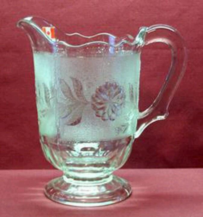 Pressed glass milk pitcher, circa 1880s.