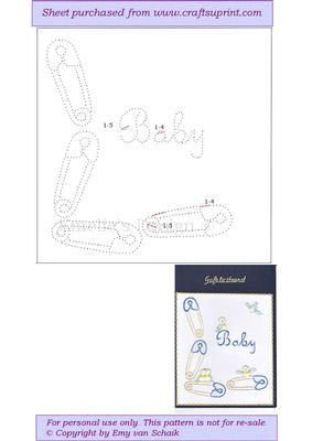 ED100 Babycard on Craftsuprint designed by Emy van Schaik - Stitching - Now available for download!