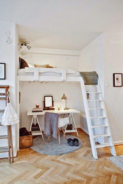 Ideas para espacios pequeños. Oficina + cama en altillo.