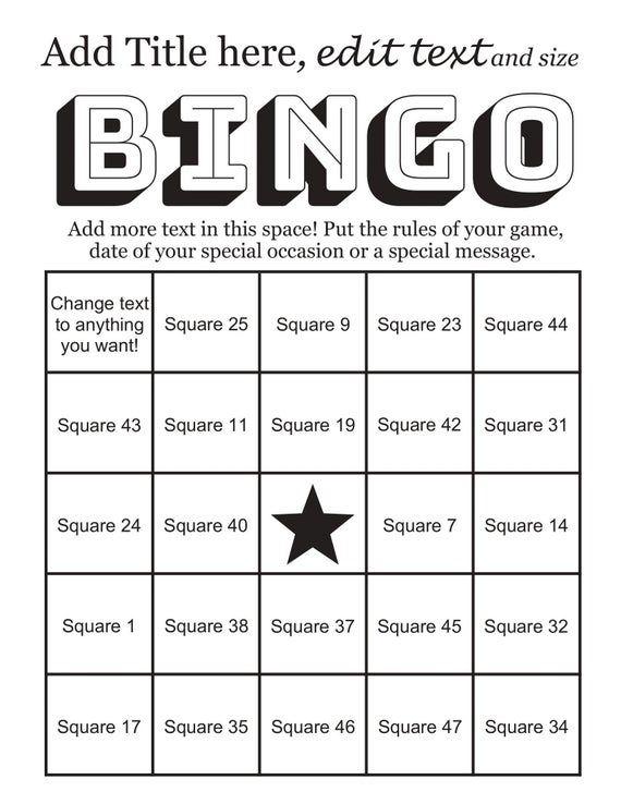 Instant Bingo Card Maker Makes 50 Custom Bingo Cards 48 Call