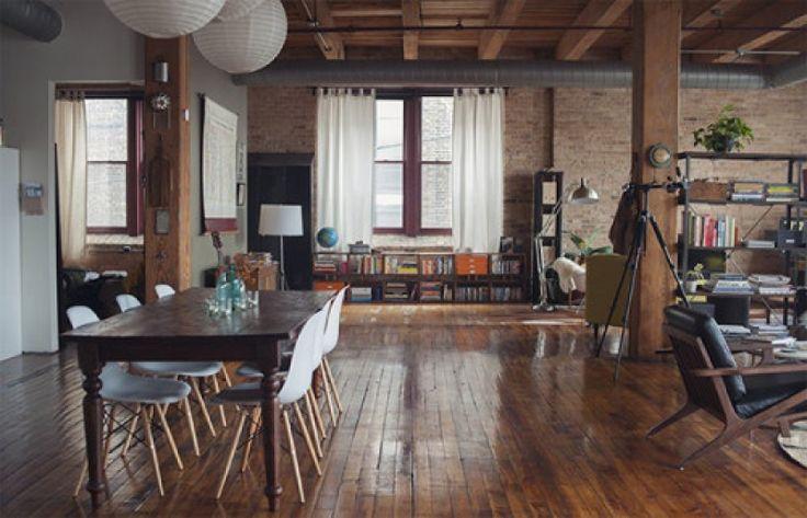 Life and Work loft in Chicago loft spaces industrial spaces vintage style recycled furnitures loft design ipari terek újrahasznosított bútorok vintage stílus