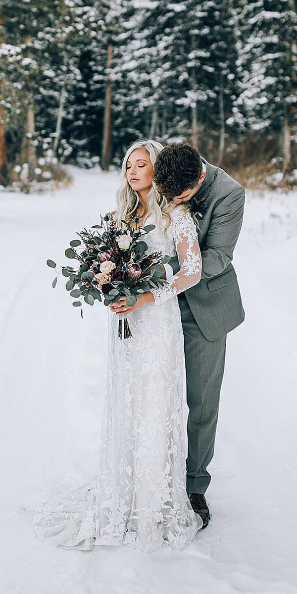 24 Winter Wedding Dresses & Outfits ❤ winter wedding dresses outfits sheath with illusion long sleeves full lace outdoor celebration ideas duke moose ❤ See more: http://www.weddingforward.com/winter-wedding-dresses-outfits/ #weddingforward #wedding #bride