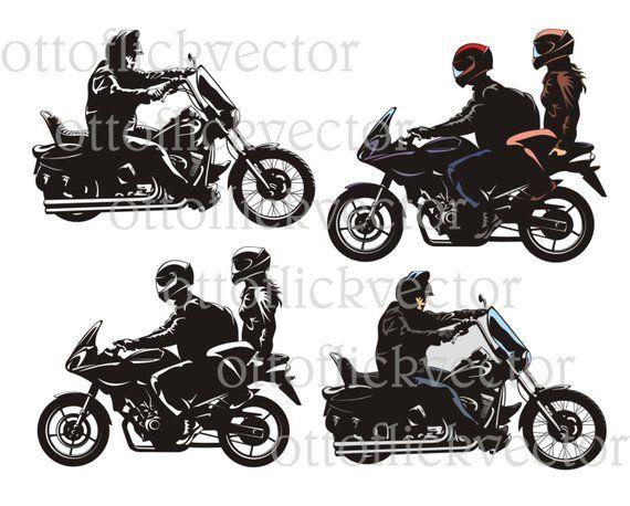 Motorcycle Bike Rider Vector Clipart Eps Ai Cdr Png Jpg B W Bikers Silhouettes Couple Chopper Casais De Moto Arte Para Impressao Casal