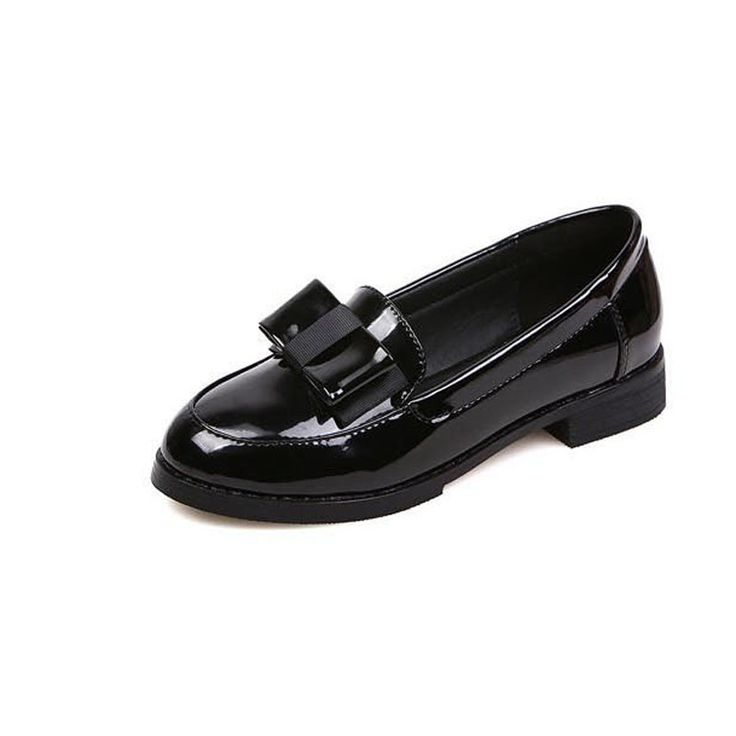 New 2016 Fashion Bow Round Toe Patent Leather Women Oxfords Ladies Casual Slip-on Flat Oxford Shoes England Women Oxford Shoes