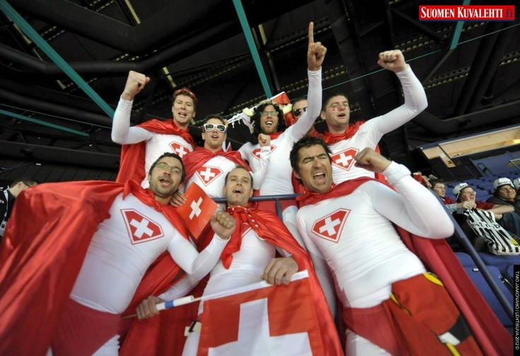 Swiss fans cheer at their team during warm-up before the preliminary round match Switzerland vs Belarus during the 2012 IIHF Ice Hockey World Championships in Helsinki, on Sunday, 6th May