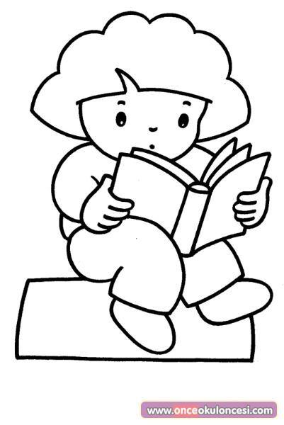 Kitap Okuyan çocuk Boyama Sayfası önce Okul öncesi Ekibi Forum