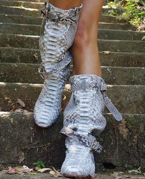 MALTA Fashion boots / Leather boots / Womens boots / Low heel boots / Light boots / Boots buckles / Snake boots / Python skin