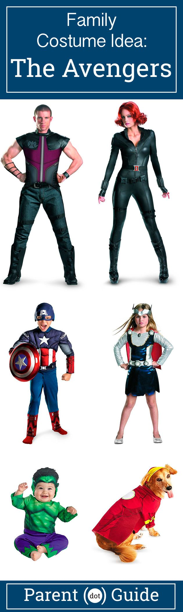 Assemble the avengers to save the world. Dress your family up in these avenger costumes this halloween. Black Widow, Hawkeye, Captain America, Hulk, Thor and you'd your dog dressed up as iron man are all ready to save the world at a moments notice.