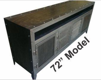 Steel & Reclaimed Wood Industrial Media Console by IndustEvo