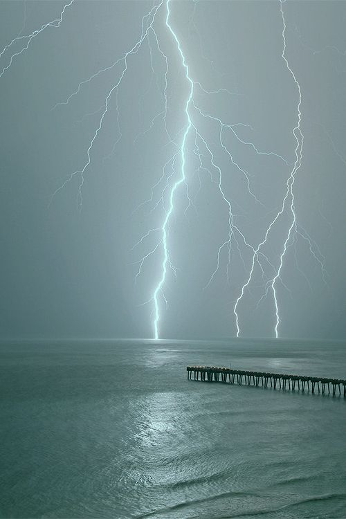 "Lightning   Thunderstorm   Clouds   Ocean  ""Sudden Storm (by Sam P.) """