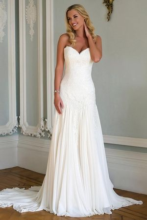 Sweetheart Fit and Flare Wedding Dress  with Dropped Waist in Chiffon. Bridal Gown Style Number:33299355