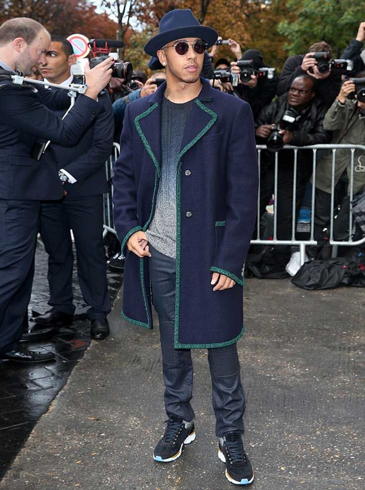 Lewis Hamilton wears Chanel Coat and Belstaff jeans during Paris Fashion Week #lewishamilton #chanel #belstaff #jeans #coat #parisfashionweek #chanelspringsummer2016