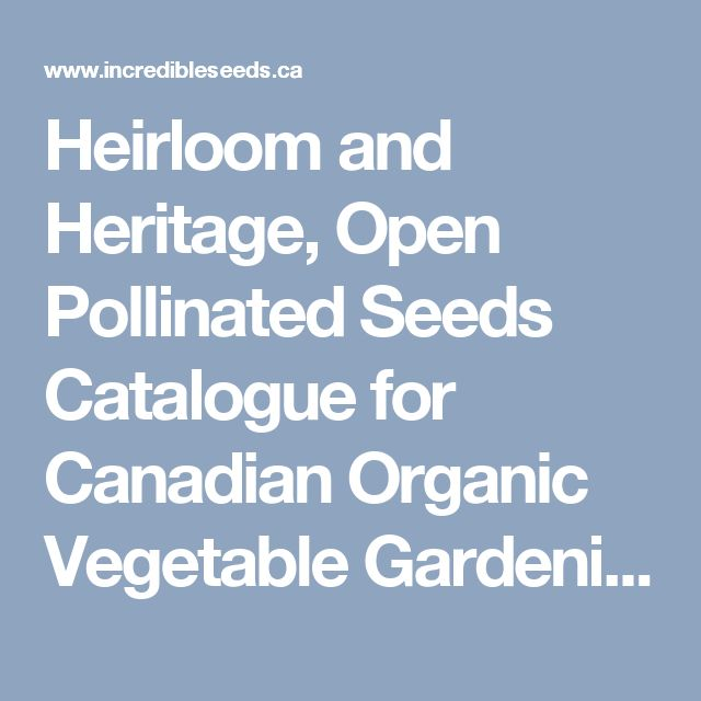 Heirloom and Heritage, Open Pollinated Seeds Catalogue for Canadian Organic Vegetable Gardening - Incredible Seeds