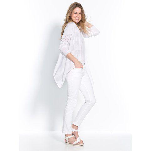 gilet loose maille ajour e femme balsamik grande taille blanc vue 3 blanc comme neige. Black Bedroom Furniture Sets. Home Design Ideas