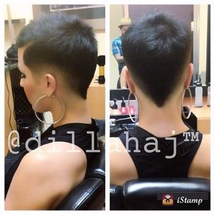 I love the way the hair's cut into a sharp V at the nape