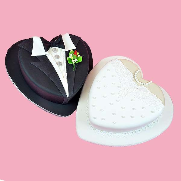 Make these sweet his and hers engagement cakes - we show you how! Global Sugar Art.com