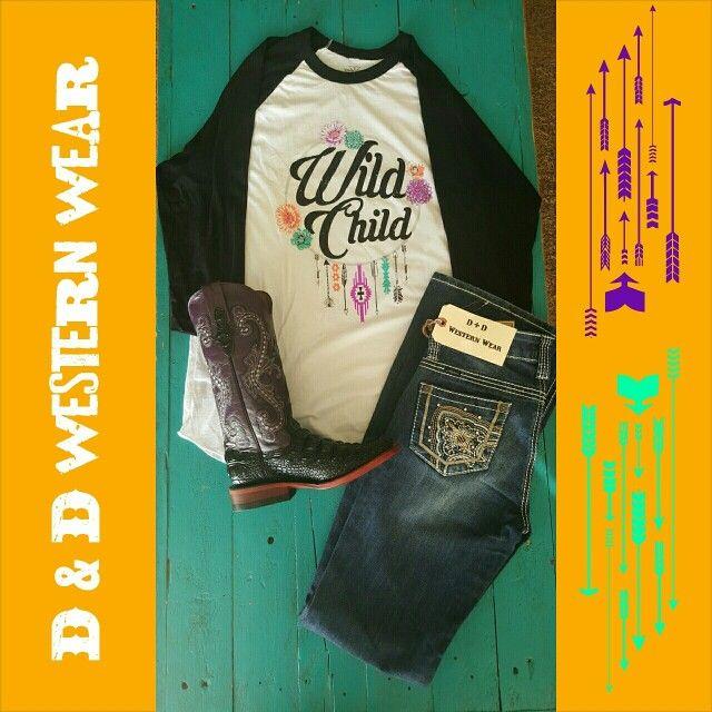 Wild Child Baseball Tee ~ Size: M $35.00 plus tax and shipping • Cowgirl Up Jeans ~ $40.00 plus tax and shipping • Print Hornback Caiman Boots ~ Purple/Black ~ Size: 6B ~ $127.50 plus tax and shipping • *Each item is IN-STOCK*