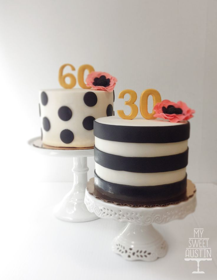 classic black and white birthday cakes with pink flowers and gold toppers    @my_sweet_austin   www.mysweetaustin.com
