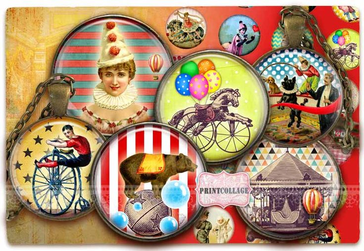 Digital Collage Sheets - Circus - Cabochon images 1.5inch 18mm 14mm 1inch circle Printable images Instant download bottle caps