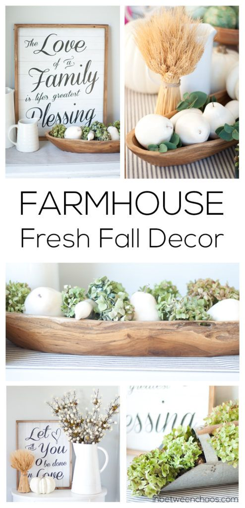 Fresh green and white farmhouse decor + wood + wheat | inbetweenchaos.com