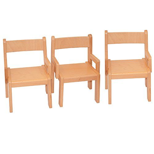 Childrenu0027s Furniture Solid Beech Wood Set Of 3, Three Chairs With Arm Rest  Natural Varnished