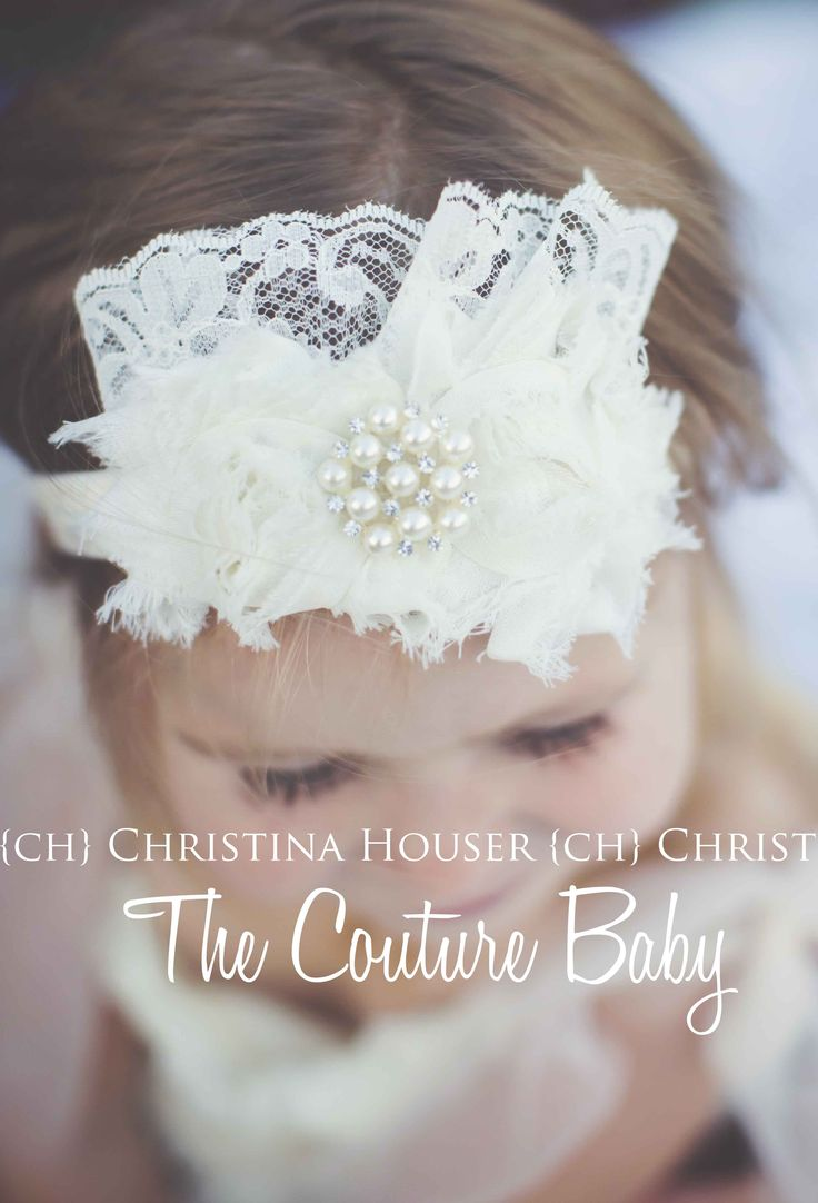 Cream Lace Pearl Rosette Headband from The Couture Baby