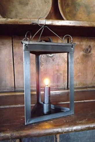 Primitive Colonial Triangle Lantern, perfect with our battery operated taper candles with timer!