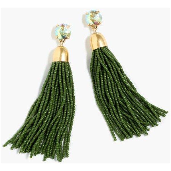 J.Crew Beaded tassel earrings ($65) ❤ liked on Polyvore featuring jewelry, earrings, bead jewellery, steel earrings, polish jewelry, beading earrings and j crew jewellery