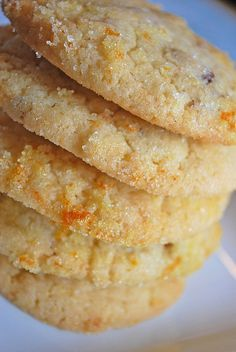 "Cranberry Orange Cookies ~ ""They are a light and delicious sugar cookies with dried cranberries and tons of orange zest. They're also rolled in a mixture of sugar and orange zest which is what makes them so good. The sugar make them a little crunchy on the outside but they say so soft on the inside"".."