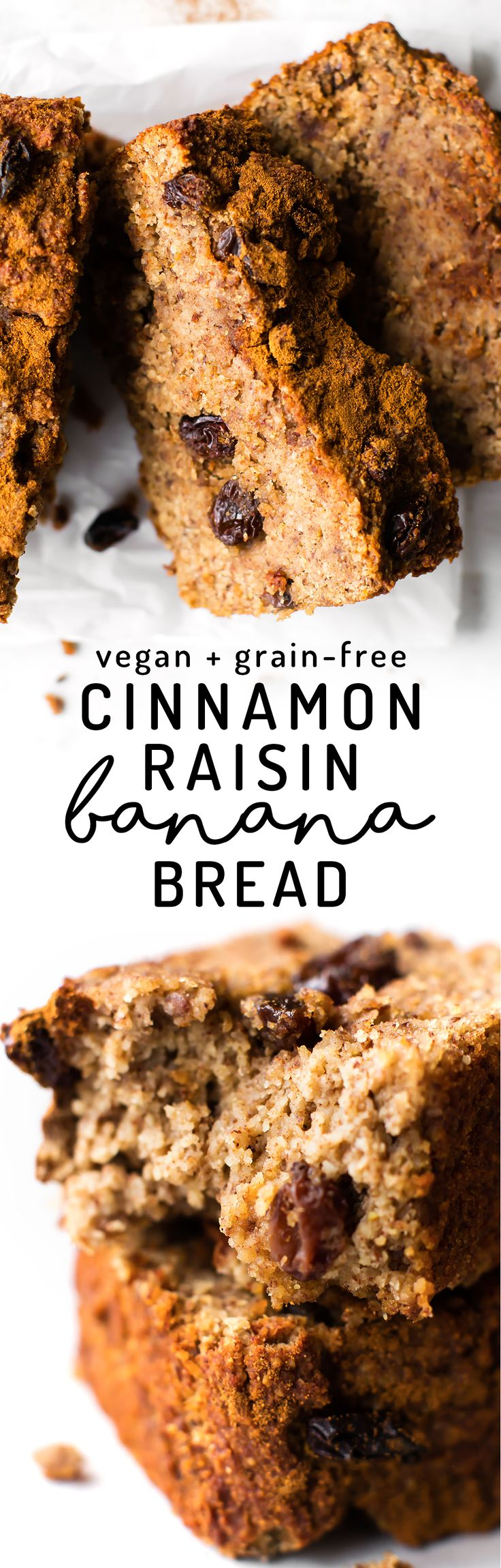 Soft naturally sweet banana bread spiced up with cinnamon and speckled with raisins for a healthy and simple breakfast, snack, or dessert! Vegan, grain-free, refined sugar-free. via @Natalie | Feasting on Fruit