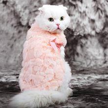 Hoopet huisdier kleding elegante luxe parel bont winter overjas samll hond kat kleding strik chihuahua(China (Mainland))