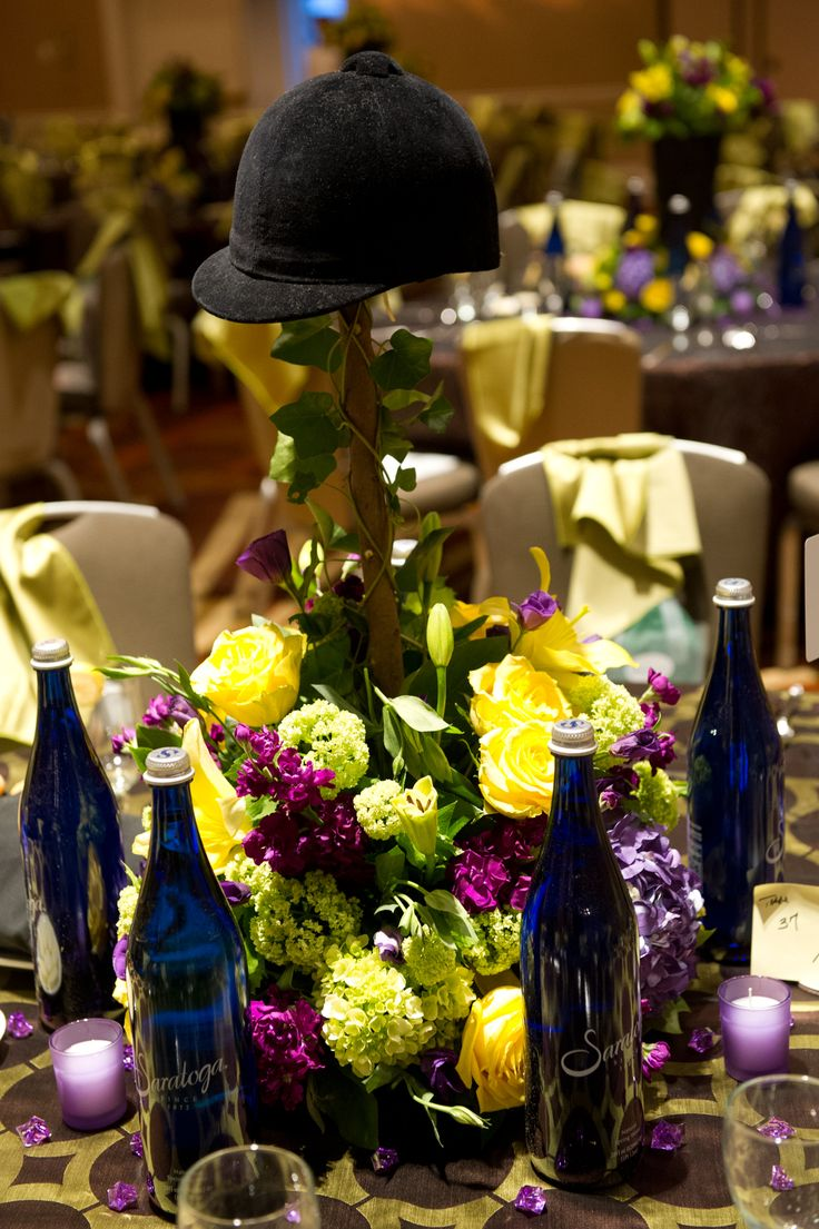 Southside Hospital's Hats Off Gala, with a Kentucky Derby theme - love the centrepiece idea!