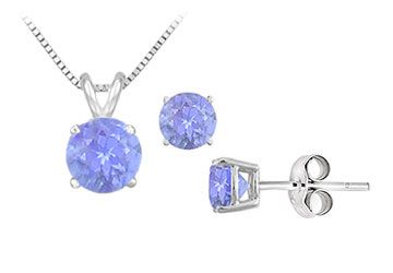 Created Tanzanite Solitaire Pendant with Earrings Set in Sterling Silver 2.00 CT TGW